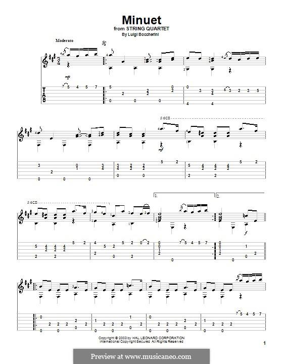 Streichquintett Nr.5 in E-Dur, G.275 Op.107: Menuett, für Gitarre by Luigi Boccherini
