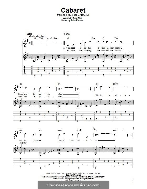 Cabaret (Liza Minnelli): Für Gitarre by John Kander
