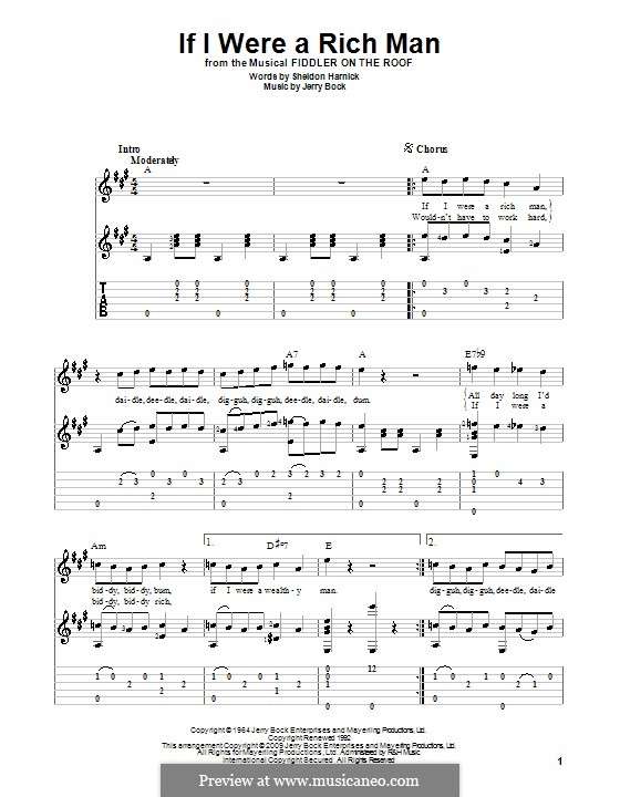 If I Were a Rich Man (from The Fiddler on the Roof): Für Gitarre by Jerry Bock