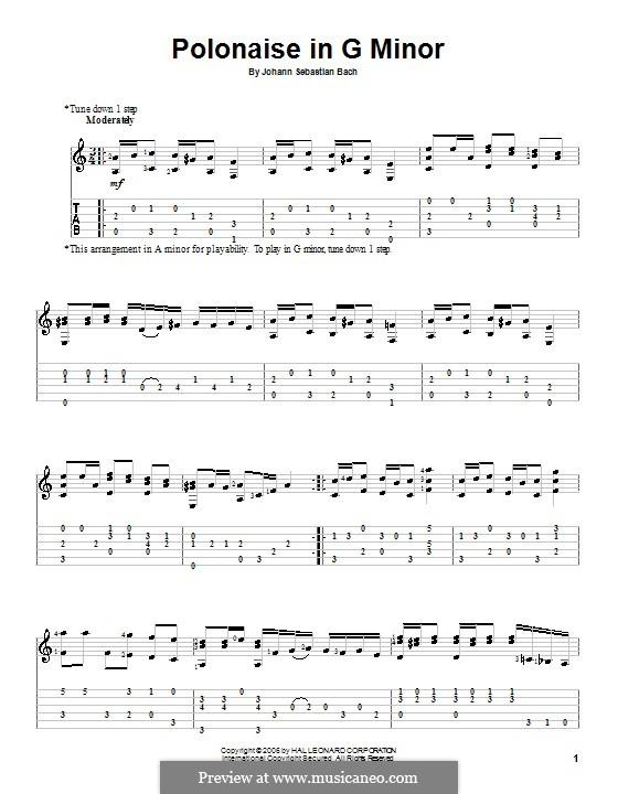 Nr.19 Polonäse in g-moll, BWV Anh.125: Für Gitarre by Johann Sebastian Bach