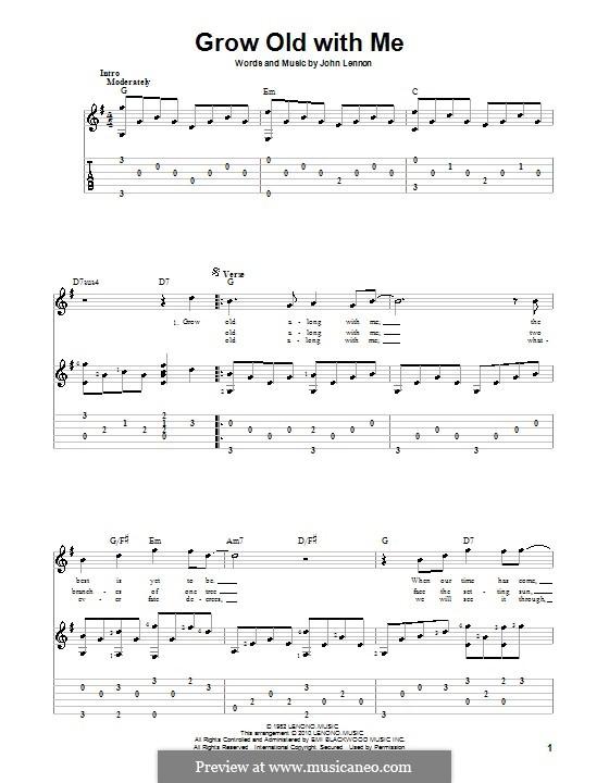 Grow Old With Me: Für Gitarre mit Tabulatur by John Lennon