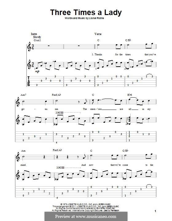 Three Times a Lady: Für Gitarre mit Tab by Lionel Richie