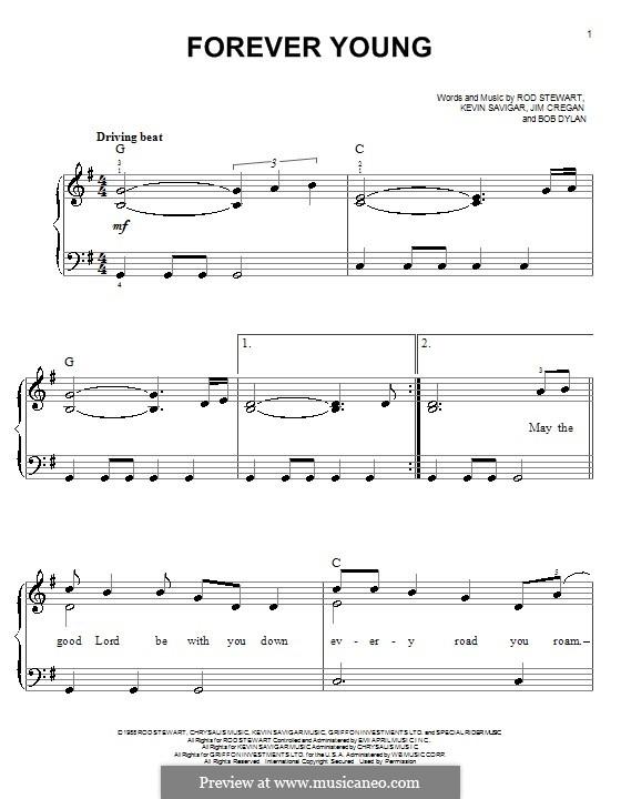 Forever Young II: Für Klavier, leicht by Bob Dylan, Jim Cregan, Kevin Savigar, Rod Stewart