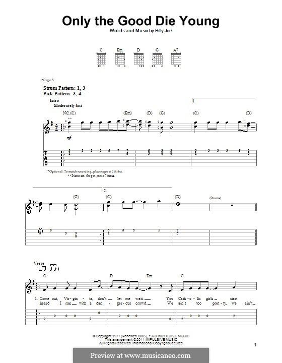 Only the Good Die Young: Für Gitarre (Sehr leichte Fassung) by Billy Joel