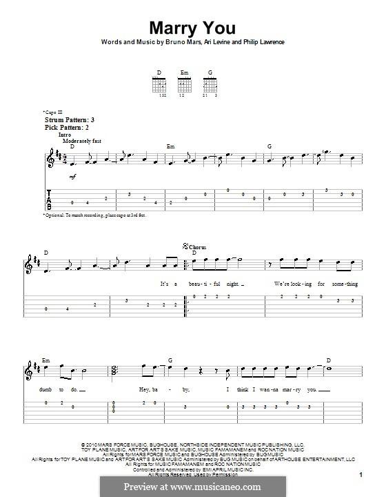 Marry You: Für Gitarre (leicht) by Ari Levine, Bruno Mars, Philip Lawrence