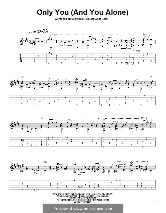 Only You (And You Alone): For guitar with tab (The Platters) by Ande Rand, Buck Ram