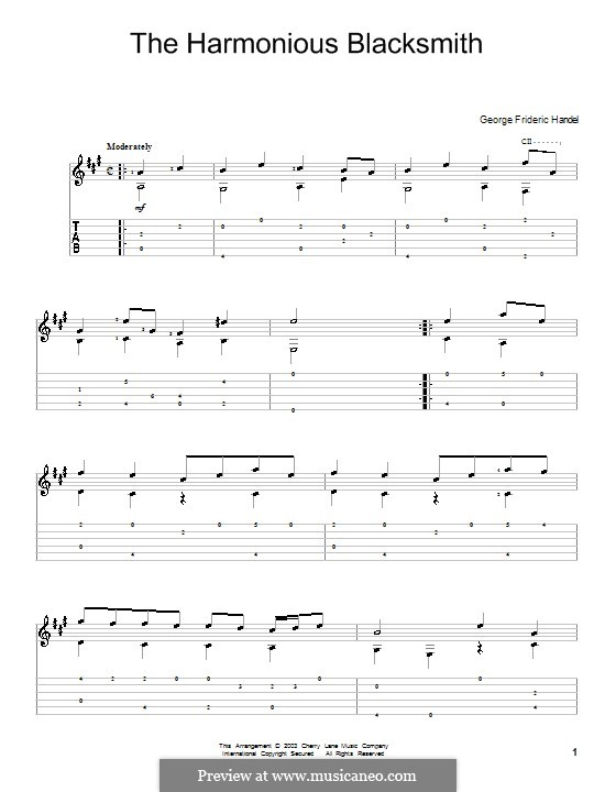 Suite Nr.5 in E-Dur, HWV 430: Teil III, für Gitarre by Georg Friedrich Händel