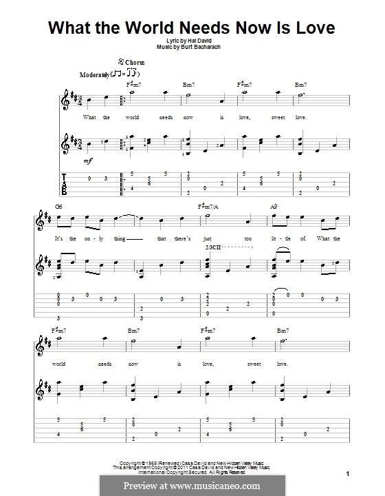 What the World Needs Now Is Love: Für Gitarre mit Tabulatur by Burt Bacharach
