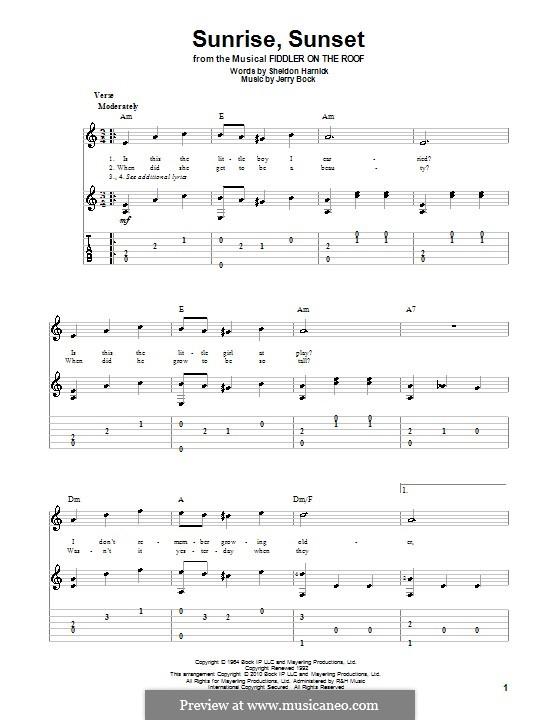 Sunrise, Sunset (from Fiddler on the Roof): Für Gitarre mit Tabulatur by Jerry Bock