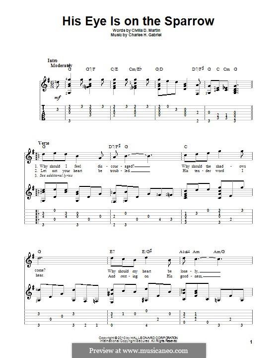His Eye Is on the Sparrow (Ethel Waters): Für Gitarre mit Tabulatur by Charles Hutchinson Gabriel