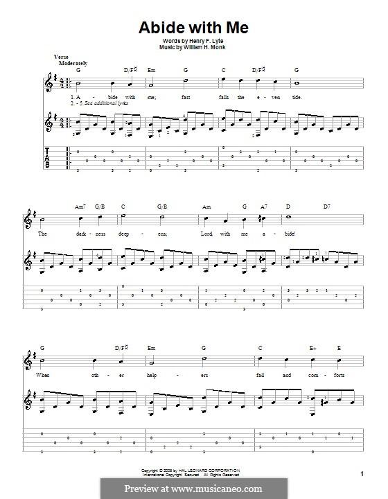 Abide with Me: Für Gitarre by William Henry Monk