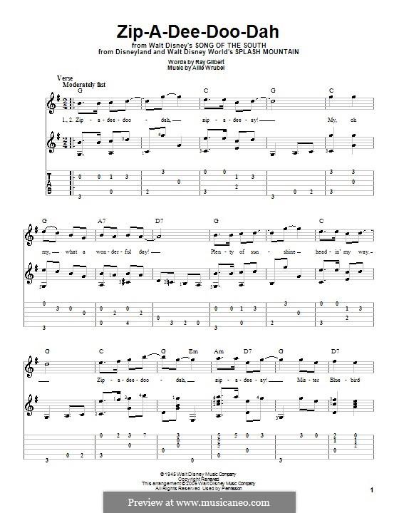 Zip-A-Dee-Doo-Dah: Für Gitarre mit Tabulatur by Allie Wrubel