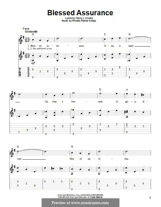 Blessed Assurance: Gitarrentabulatur by Phoebe Palmer Knapp