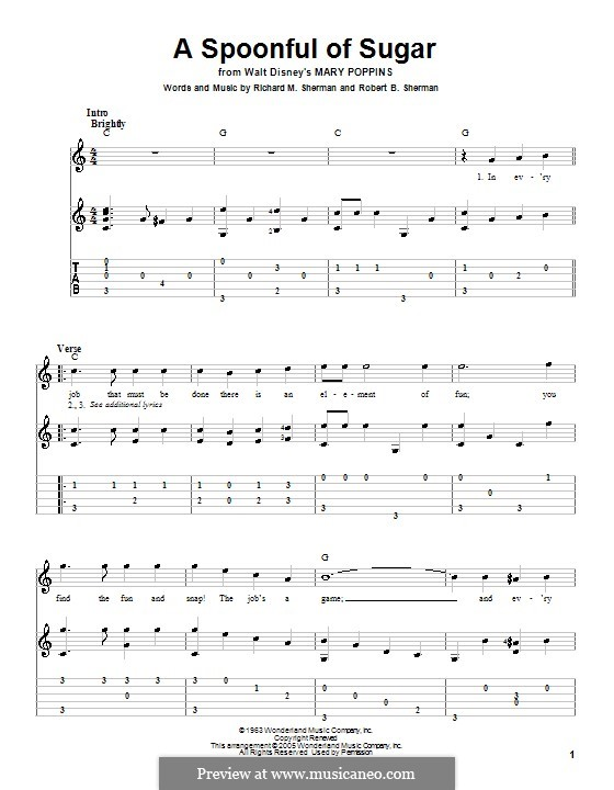 A Spoonful of Sugar: For guitar with tab by Richard M. Sherman, Robert B. Sherman