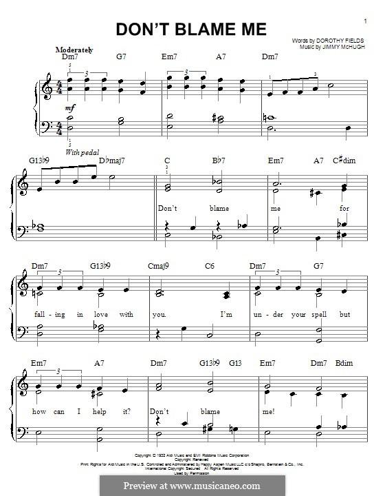 Don't Blame Me: Für Klavier, leicht by Jimmy McHugh
