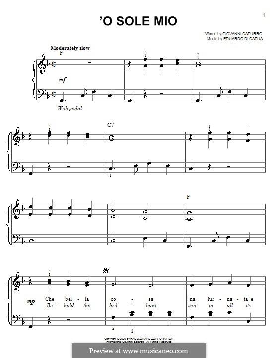 O Sole Mio: Für Klavier by Eduardo di Capua