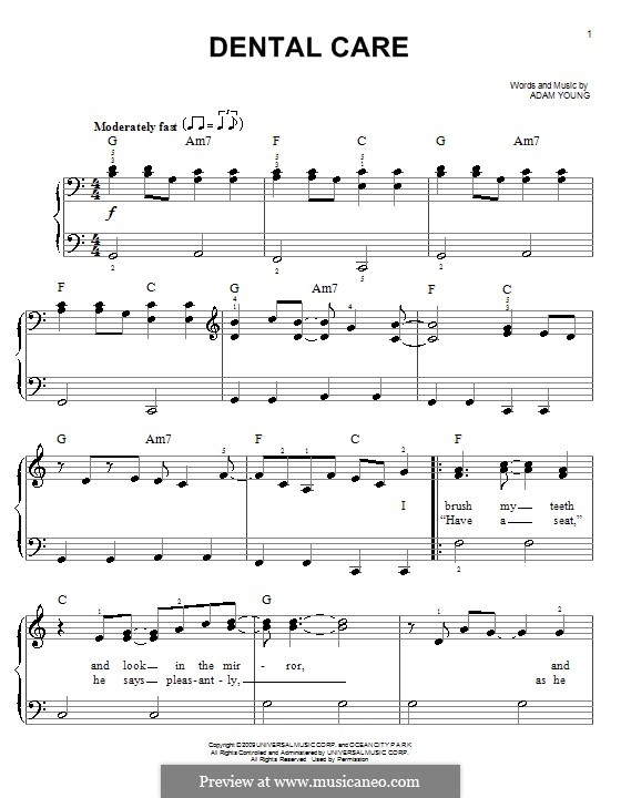 Dental Care (Owl City): Für Klavier, leicht by Adam Young