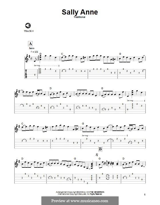 Sally Ann: Für Gitarre mit Tabulatur by folklore