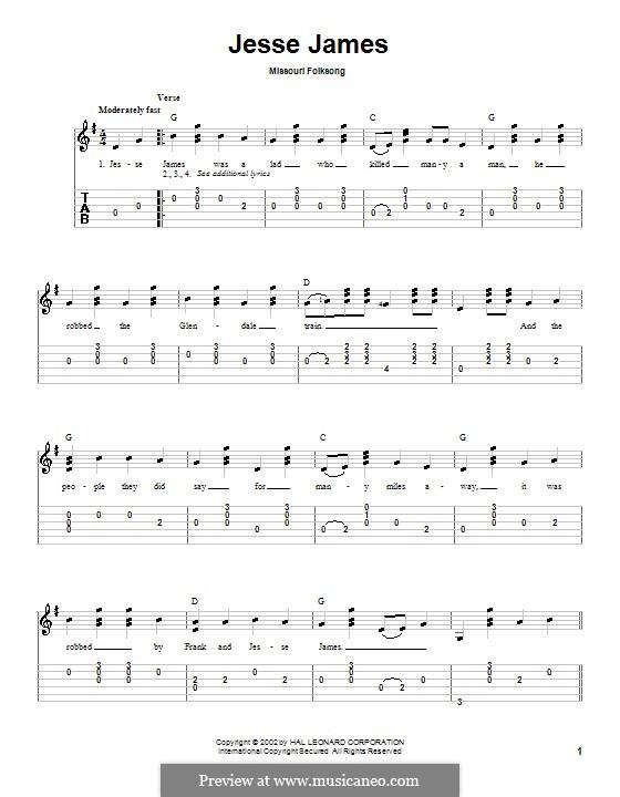 Jesse James: Für Gitarre by folklore