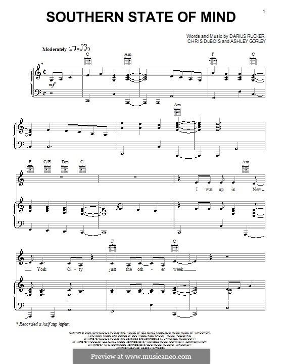 Southern State of Mind: Für Stimme und Klavier (oder Gitarre) by Ashley Gorley, Chris DuBois