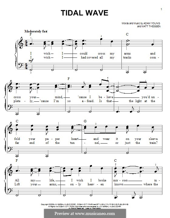 Tidal Wave (Owl City): Für Klavier, leicht by Adam Young, Matt Theissen