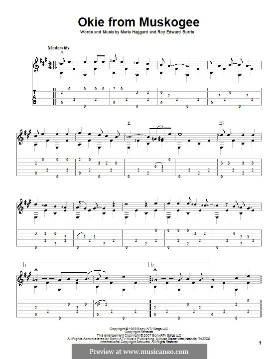 Okie from Muskogee: Für Gitarre mit Tabulatur by Roy Edward Burris