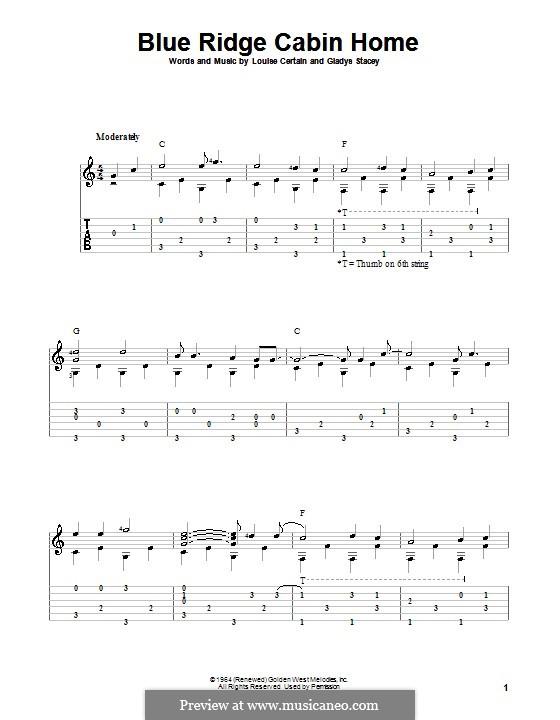 Blue Ridge Cabin Home (Flatt & Scruggs): Für Gitarre mit Tabulatur by Gladys Stacey, Louise Certain