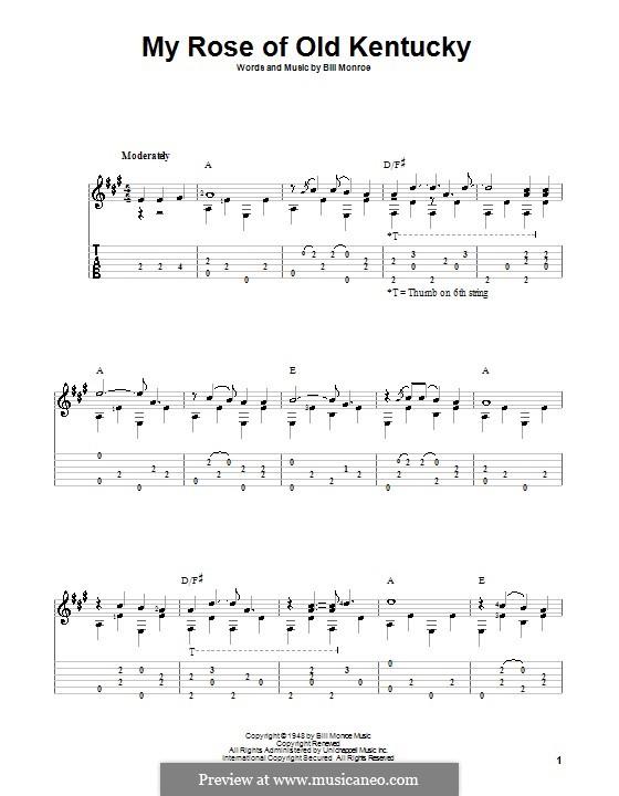 My Rose of Old Kentucky: Für Gitarre mit Tab by Bill Monroe