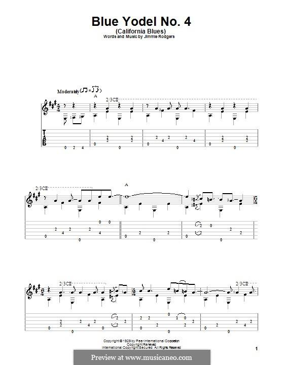 Blue Yodel No.4 (California Blues): Für Gitarre mit Tab by Jimmie Rodgers