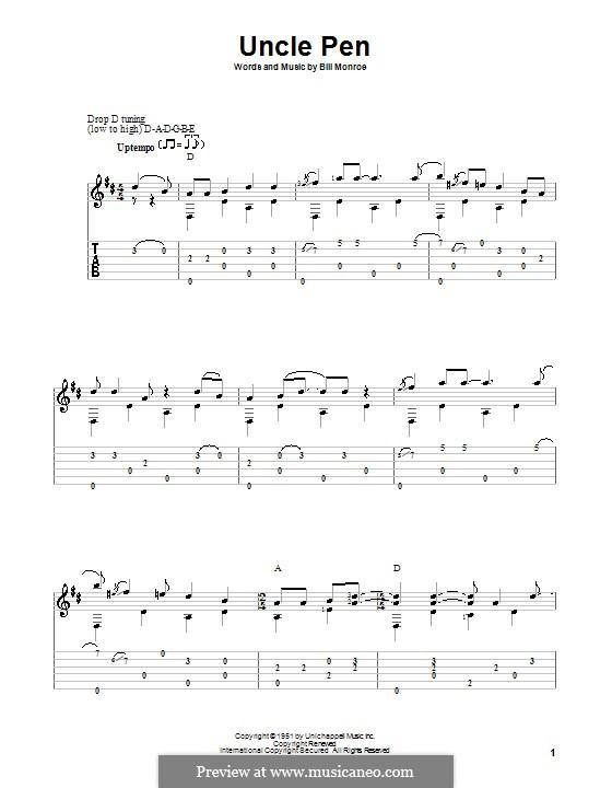 Uncle Pen: Für Gitarre by Bill Monroe