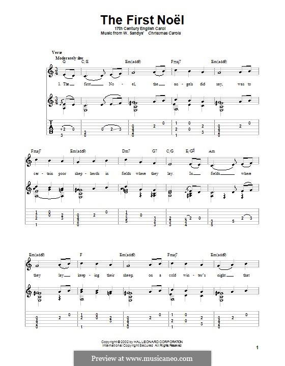 The First Nowell (The First Noël), Printable scores: Für Gitarre mit Tabulatur (C Major) by folklore