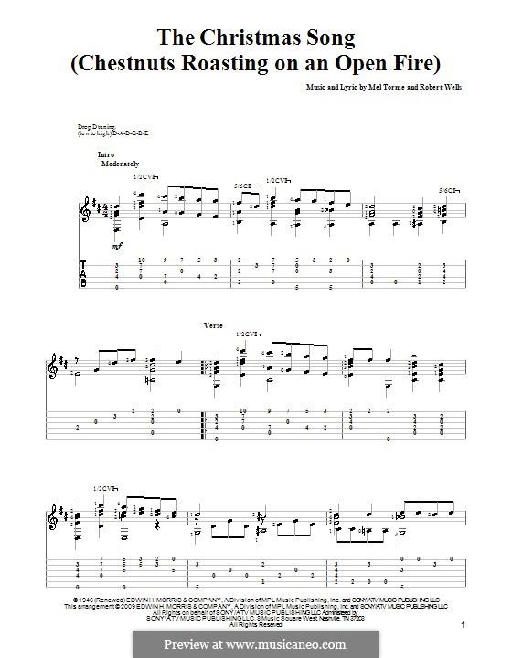 The Christmas Song (Chestnuts Roasting on an Open Fire): Für Gitarre mit Tabulatur by Mel Tormé, Robert Wells