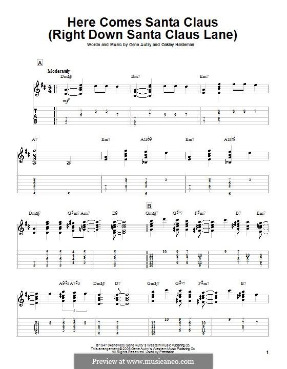 Here Comes Santa Claus (Right Down Santa Claus Lane): Für Gitarre by Gene Autry, Oakley Haldeman