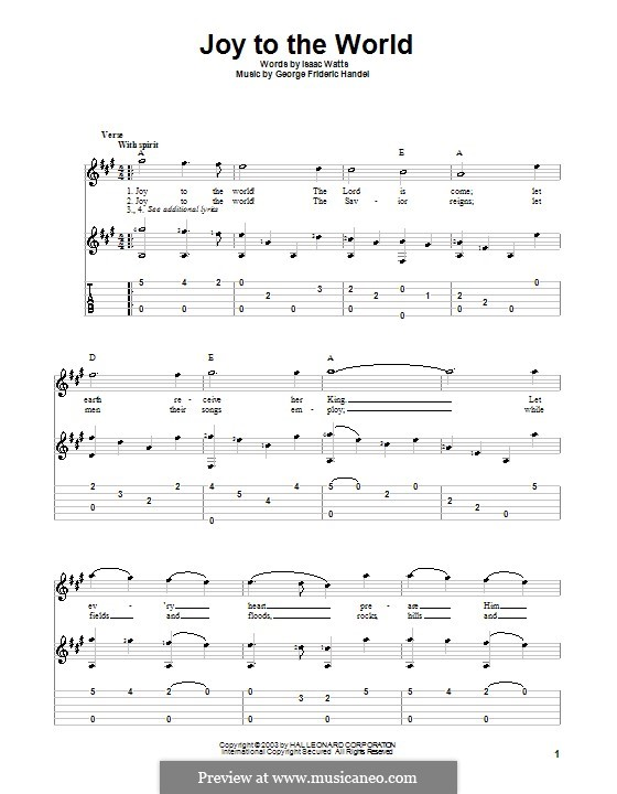 Joy to the World (Printable Scores): Für Gitarre by Georg Friedrich Händel