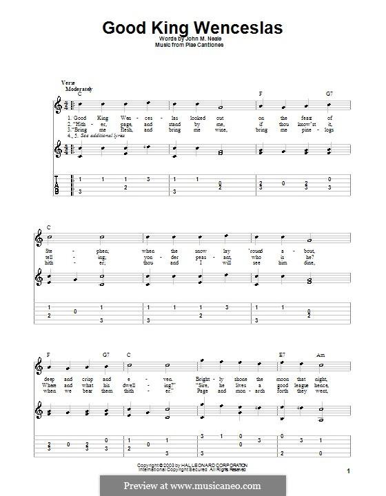 Good King Wenceslas: Für Gitarre mit Tabulatur by folklore