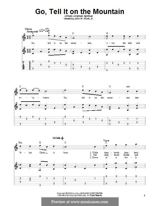 Go, Tell it on the Mountain (Printable Scores): Für Gitarre by folklore