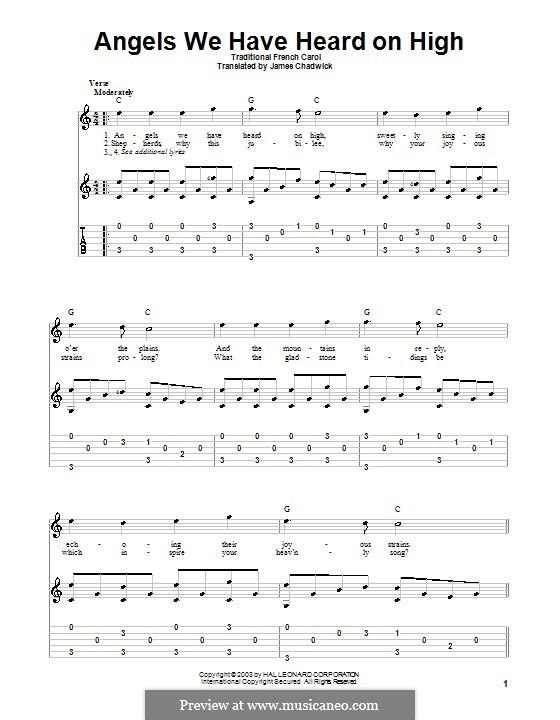 Angels We Have Heard on High: Für Gitarre mit Tabulatur by folklore