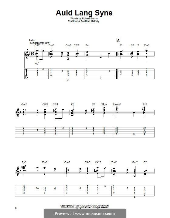 Auld Lang Syne: Für Gitarre mit Tabulatur by folklore