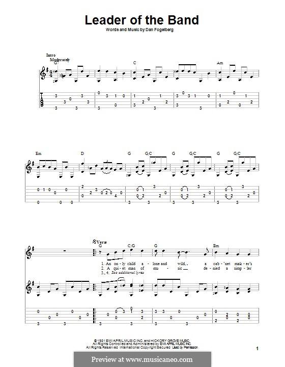 Leader of the Band: Für Gitarre mit Tabulatur by Dan Fogelberg