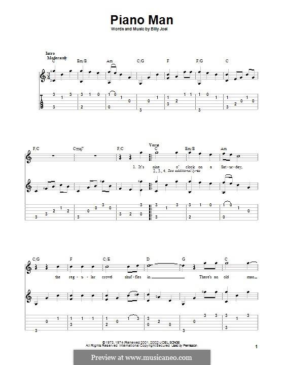 Piano Man: Für Gitarre mit Tabulatur by Billy Joel