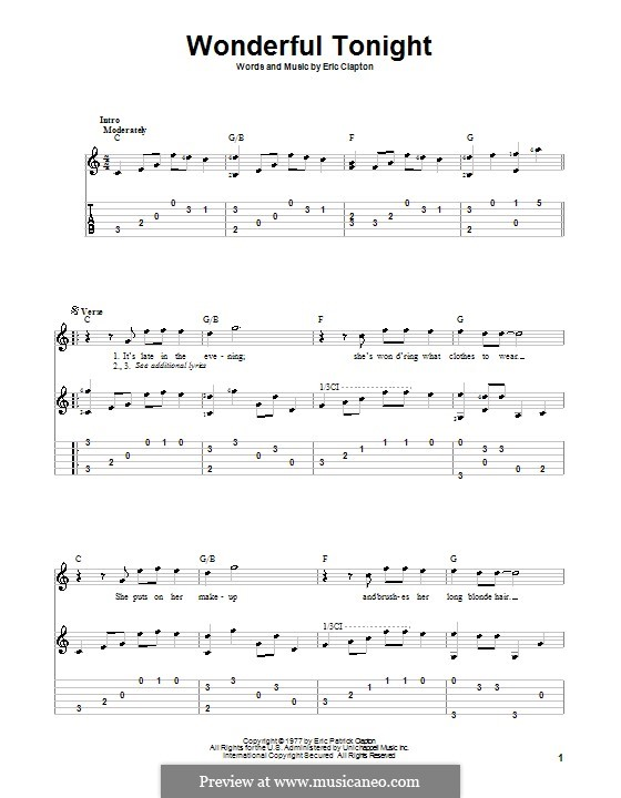 Wonderful Tonight: Für Gitarre (C Major) by Eric Clapton