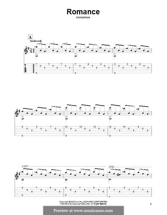 Spanische Romanze: Für Gitarre by Unknown (works before 1850)