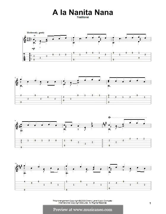 A La Nanita Nana (Hear Lullabies and Sleep Now): Für Gitarre mit Tabulatur by folklore