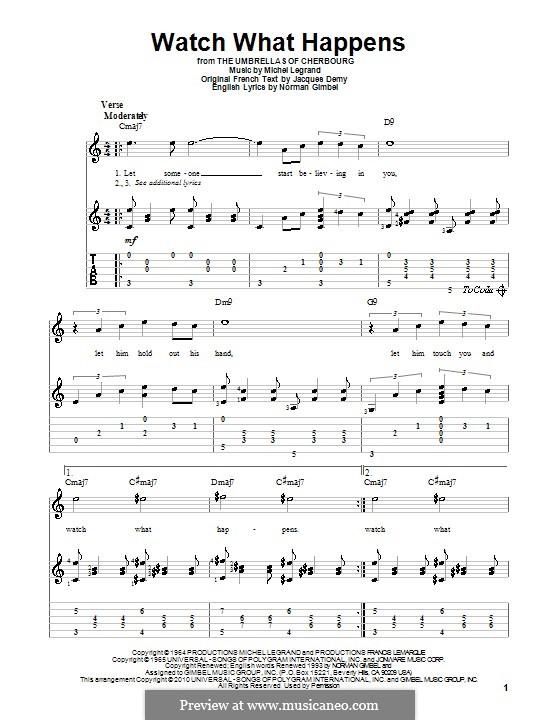 Watch What Happens: Für Gitarre mit Tabulatur by Michel Legrand