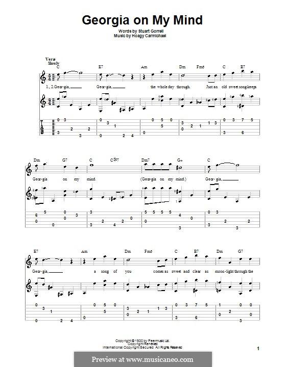 Georgia on My Mind: Für Gitarre mit Tabulatur by Hoagy Carmichael