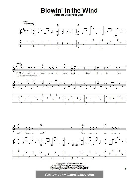 Blowin' in the Wind: Für Gitarre mit Tabulatur by Bob Dylan