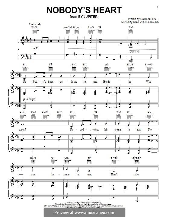 Nobody's Heart: Für Stimme und Klavier (oder Gitarre) by Richard Rodgers