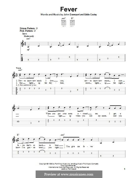 Fever: Für Gitarre (Sehr leichte Fassung) by Eddie Cooley, John Davenport
