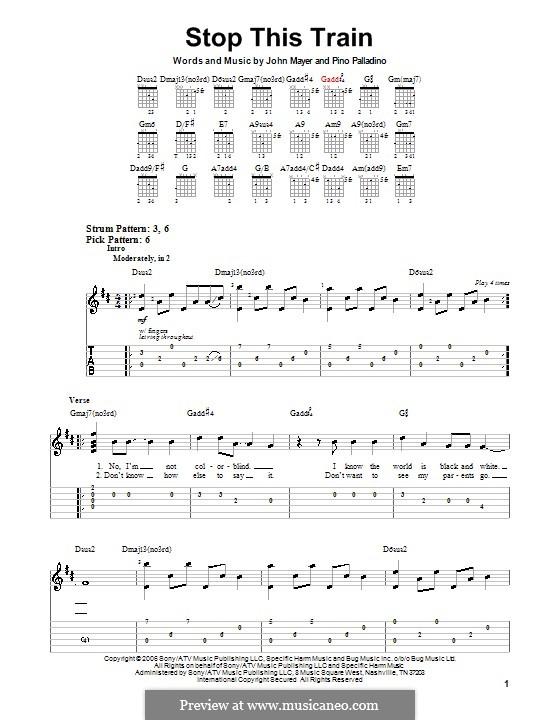 Stop This Train: Für Gitarre (Sehr leichte Fassung) by Pino Palladino