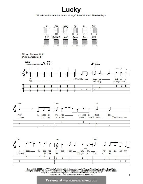 Lucky: Leichte Tabulatur für Gitarre by Colbie Caillat, Jason Mraz, Timothy Fagan